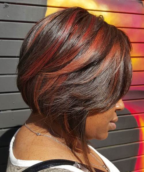 10 two tone red balayage for dark hair
