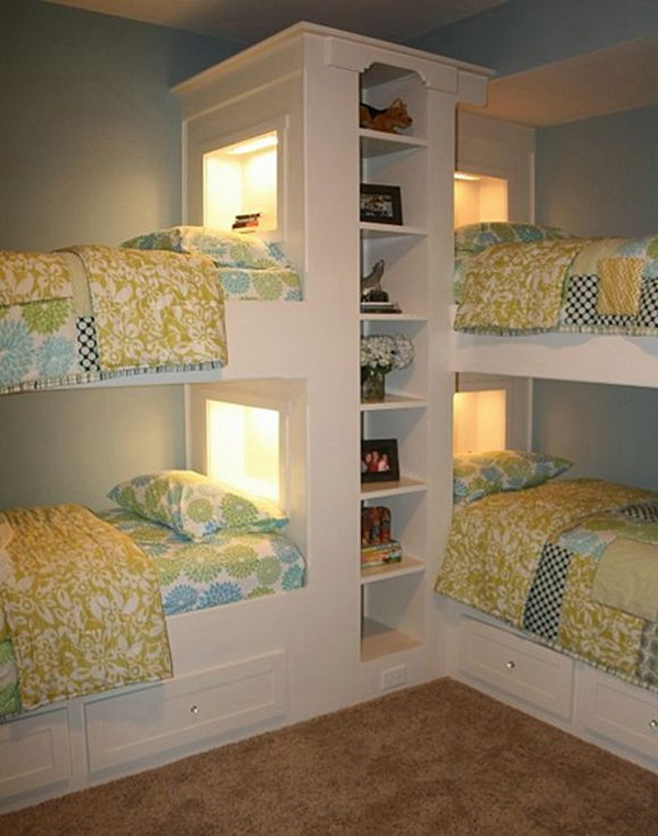 11 Beach House Bunk Rooms Great idea for a small space