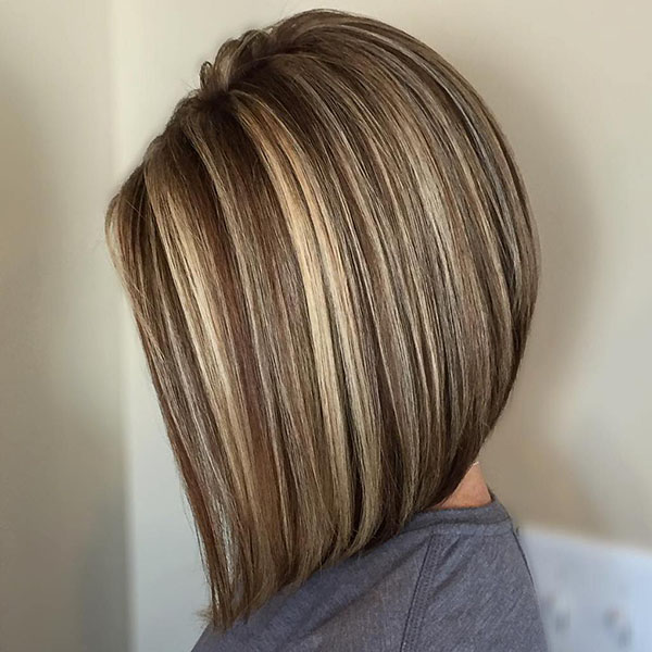 11 brown lob with blonde highlights