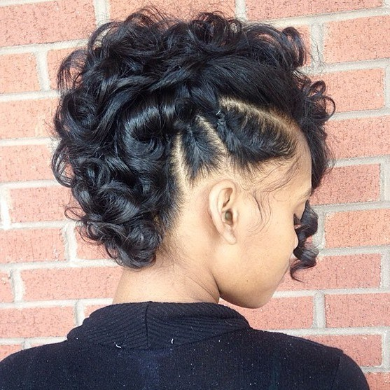 11 curly mohawk updo with side braids