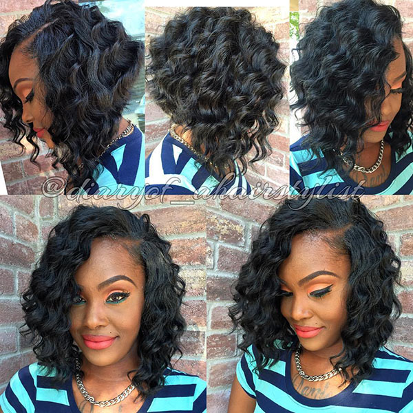 12 africanamerican angled curly bob