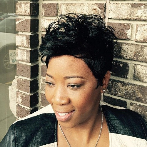 12 black short messy hairstyle