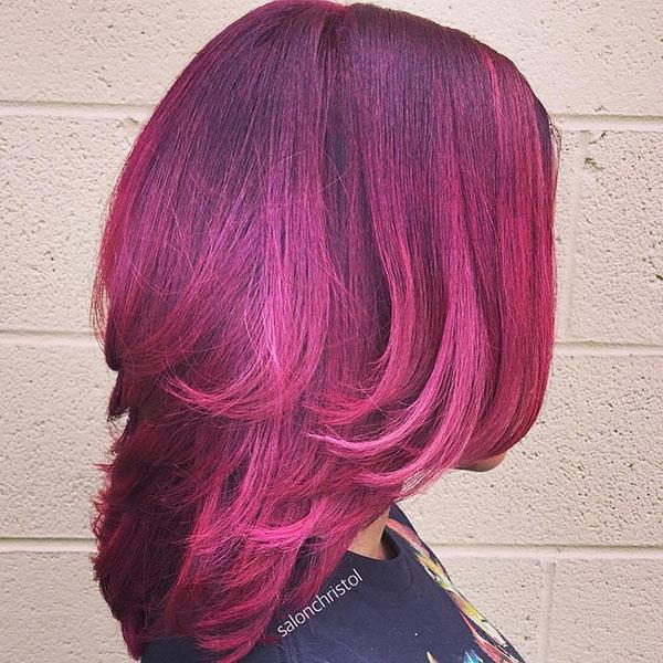 12 layered purple pink hairstyle