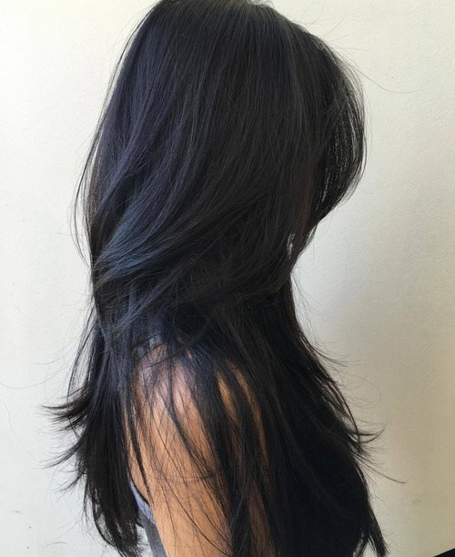 12 long black layered hairstyle