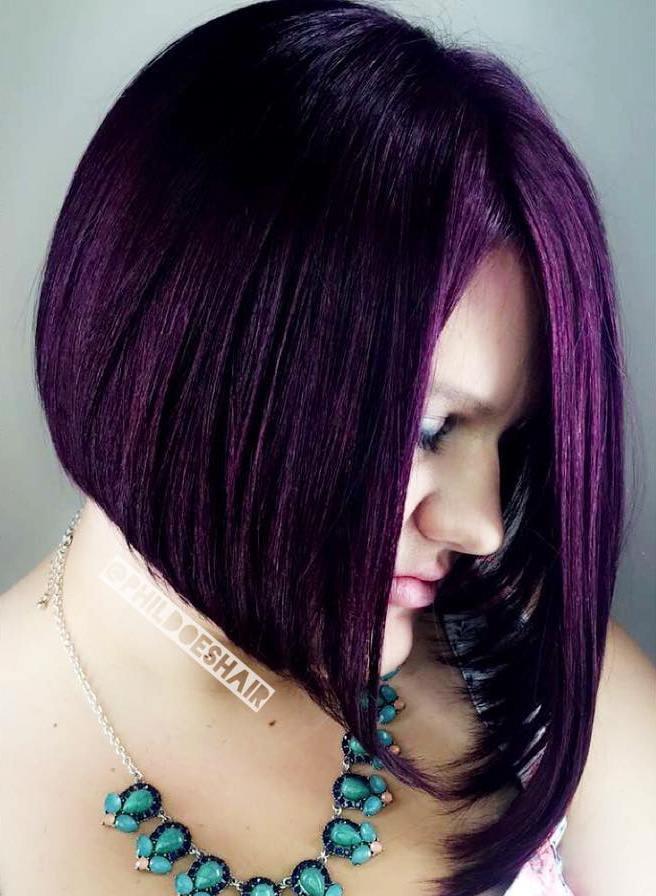 12 straight asymmetrical purple bob