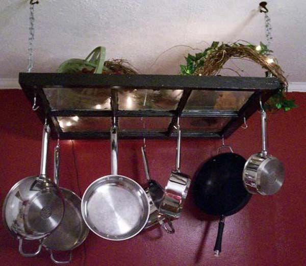 13 A wonderful pot rack for your kitchen