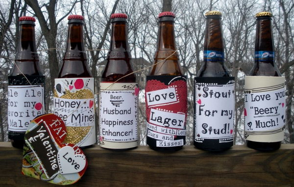 13 Beer bottles attached with custom love labels