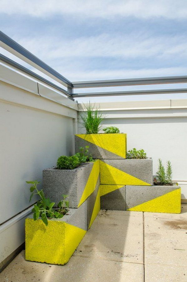 13 DIY Neon Concrete Block Planter
