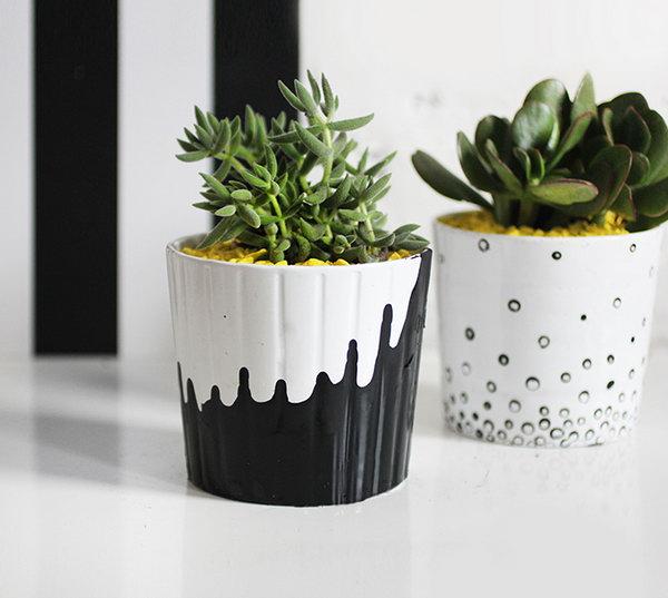 13 Painted Succulent Pots