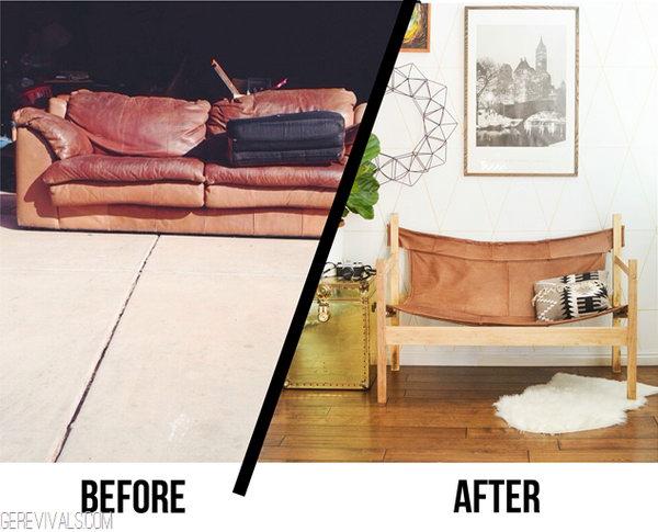 13 Upcycle Ugly Sofa Into Leather Safari Sling Bench
