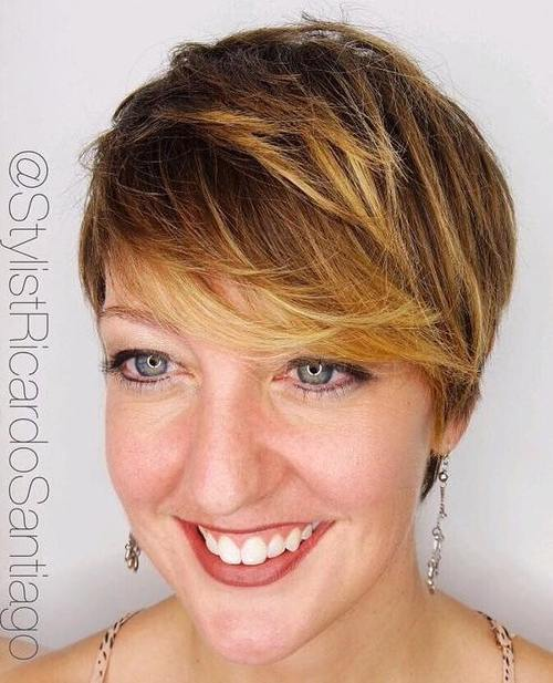 13 short sassy brown pixie with golden blonde