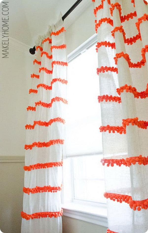 14 Pom-Pom Trim Embellished Curtains