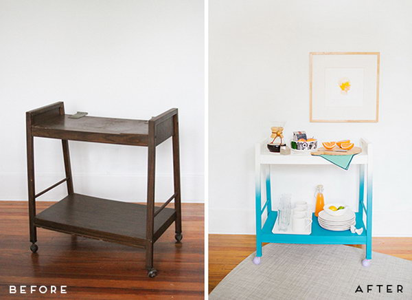 14 Transform an Old TV Stand into a Colorful Modern Bar Cart