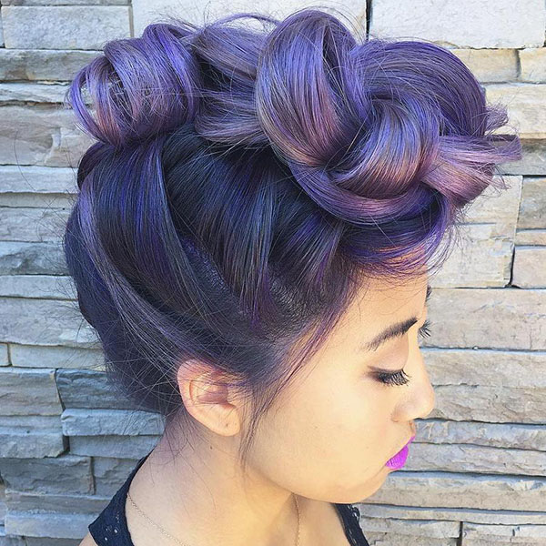 14 pastel purple knotted mohawk updo