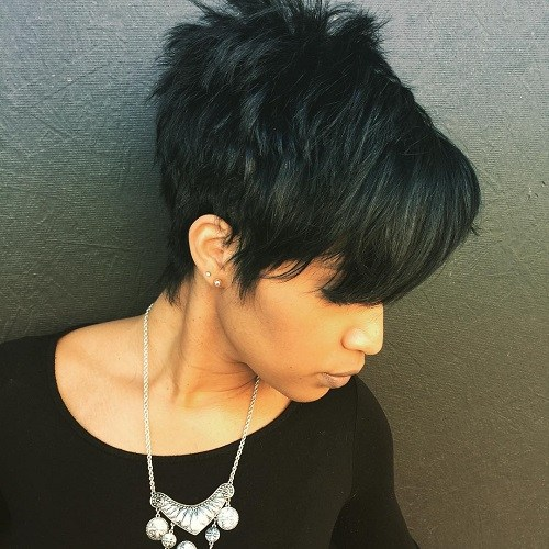 14 spiky black haircut with bangs
