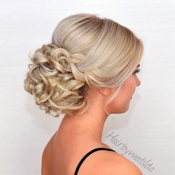 15 half sleek half curly blonde updo