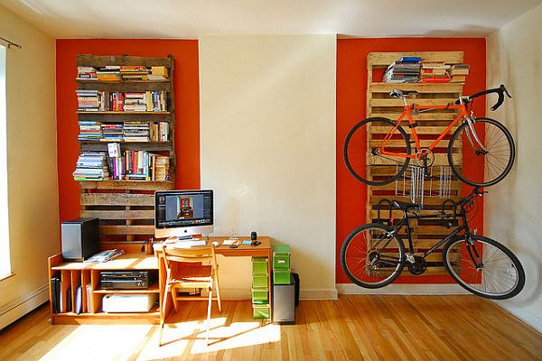 16 Pallet Bookshelf and Bike Rack