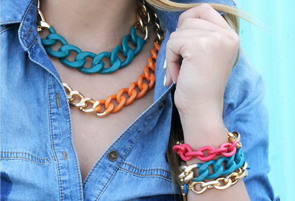 16 Simple Chain Necklace with Bright Colors