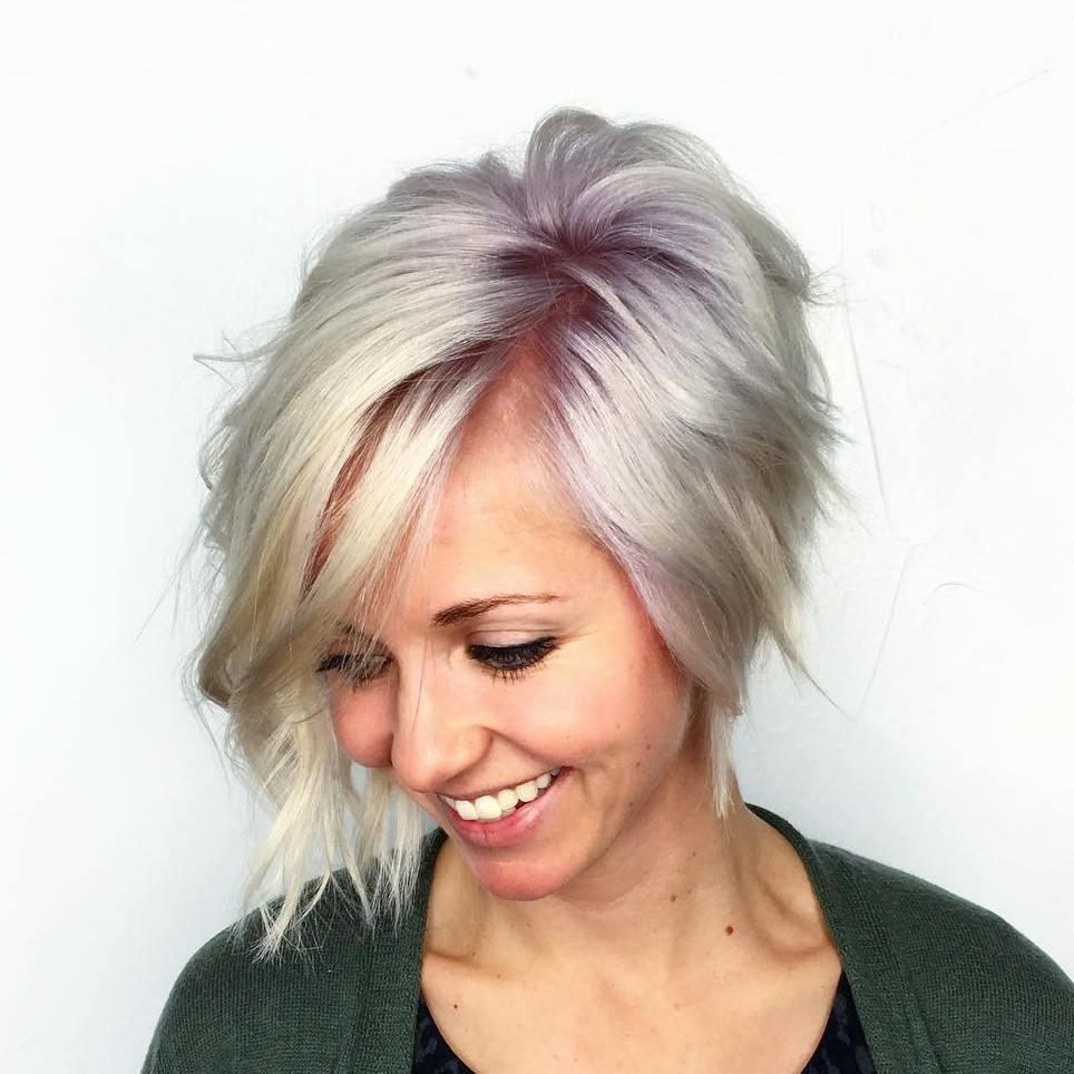 16 wispy pastel purple bob