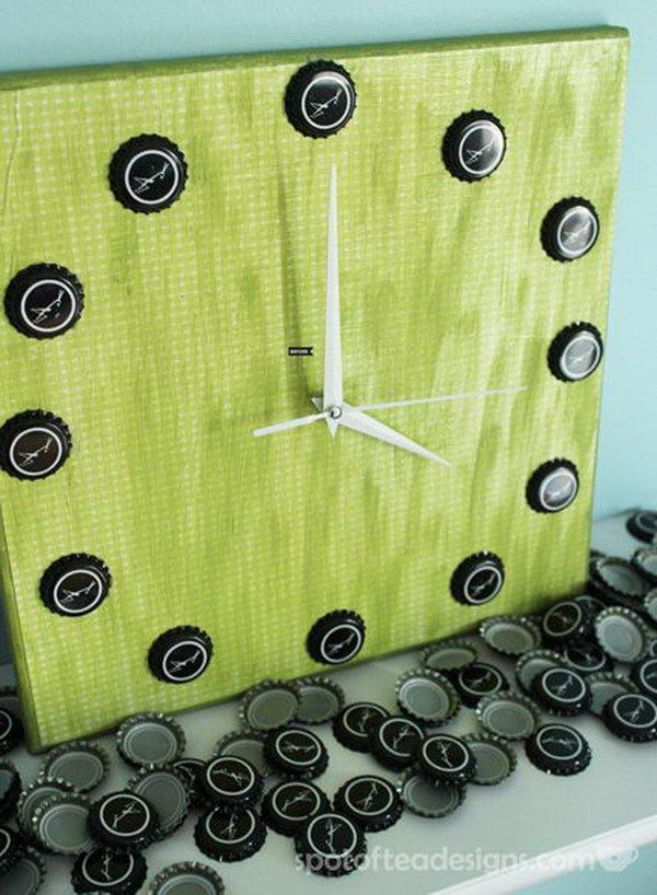 17 Beer Bottle Cap Wall Clock