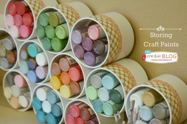 17 Craft Paint Storage with PVC Pipe
