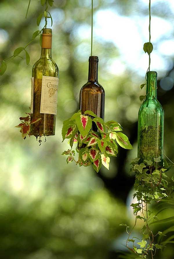 17 Hanging Wine Bottle Garden Pots