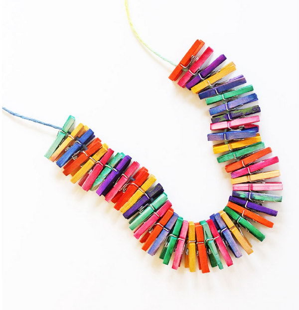 17 Mini Clothespin Necklace