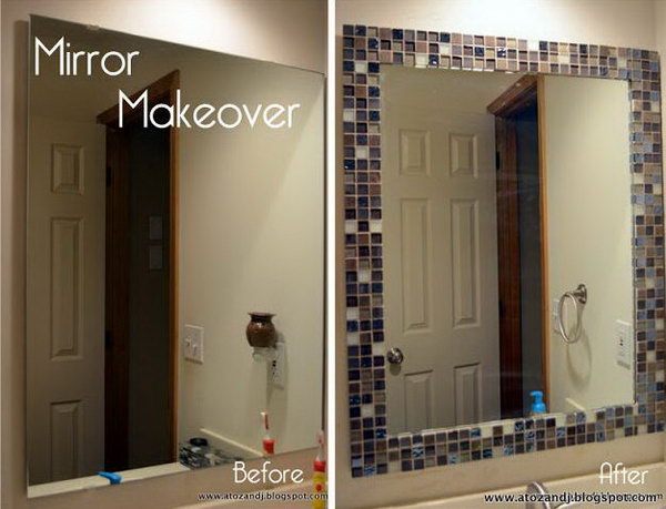 17 Update Old Boring Bathroom Mirror With Some Glass Tile