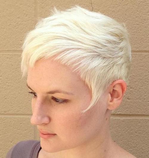 17 blonde choppy pixie with short bangs