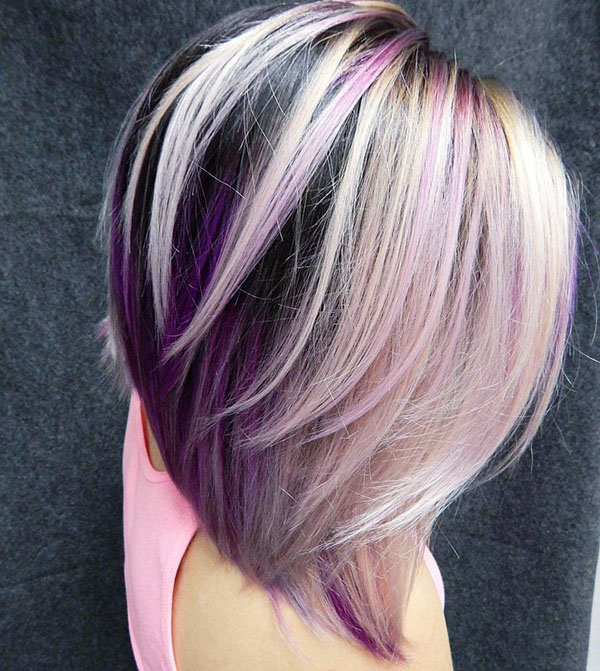 17 layered black blonde and purple bob