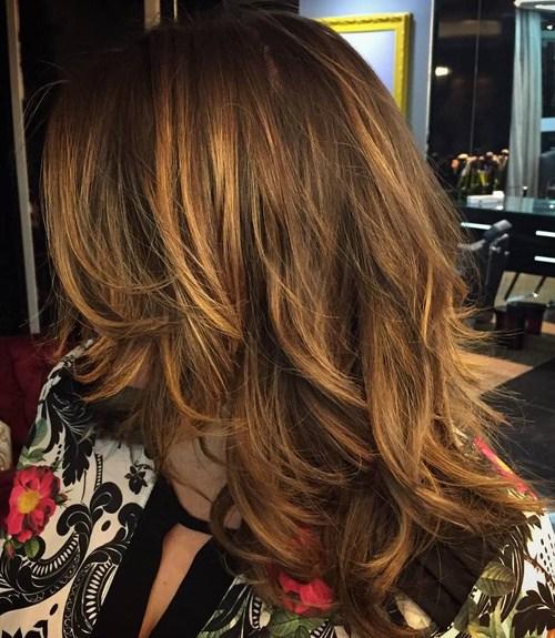17 medium layered brown hair with caramel balayage