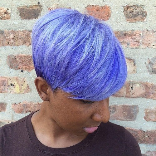 18 African American short pastel blue hairstyle