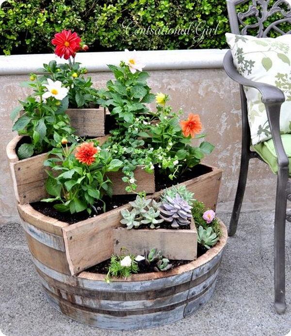 18 DIY Recycled Wine Barrel Planter