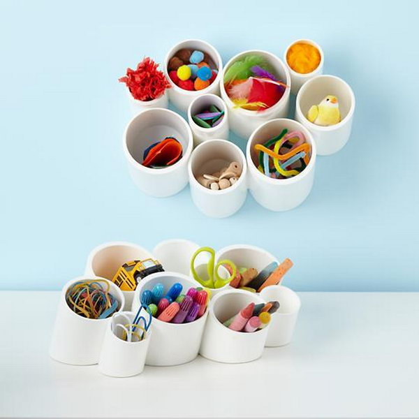 18 Make Desk Organizing Cups with PVC