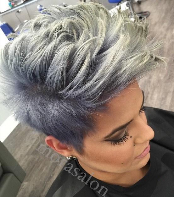 19 gray pixie fauxhawk