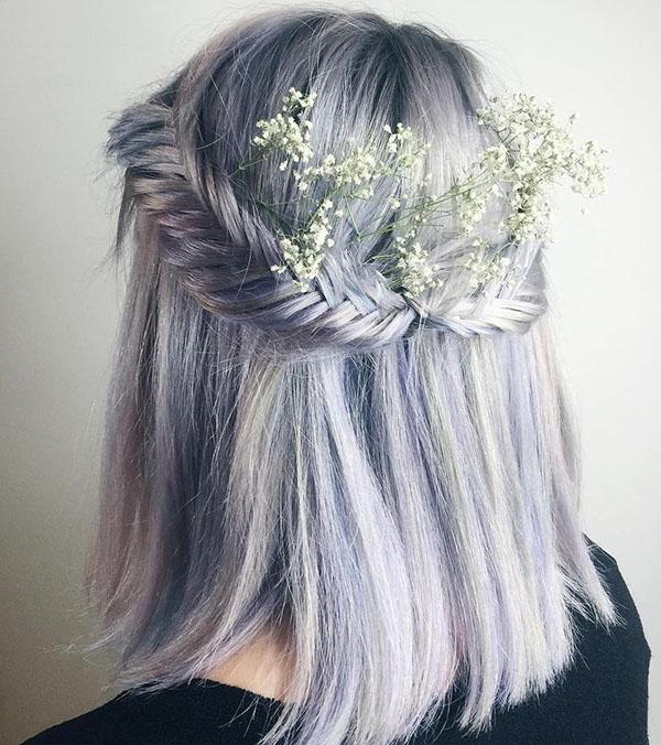 19 pastel purple half updo with fishtails
