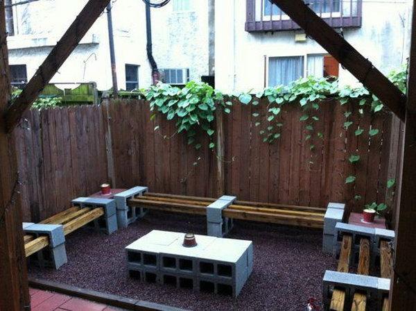 2 Cinder Block Garden Furniture Set