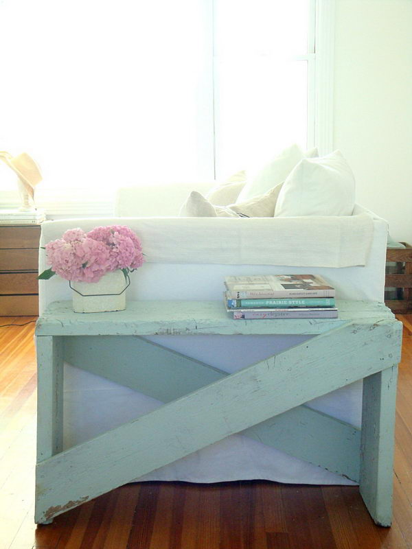 2 DIY Pale Aqua End Table Made out of 5 Boards