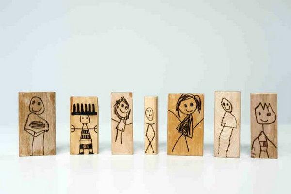 2 DIY Wood Burned Doll Blocks