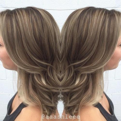 2 ash brown hair with thin highlights