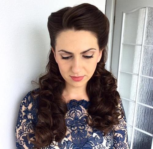 2 half up curly vintage hairstyle for long hair