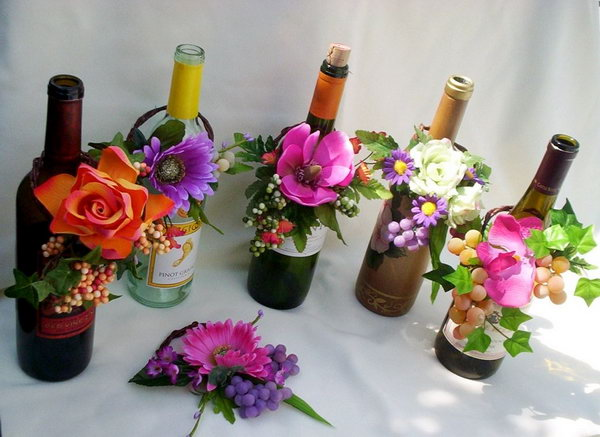 20 Wine Bottle With Fresh Flowers Wedding Centerpiece