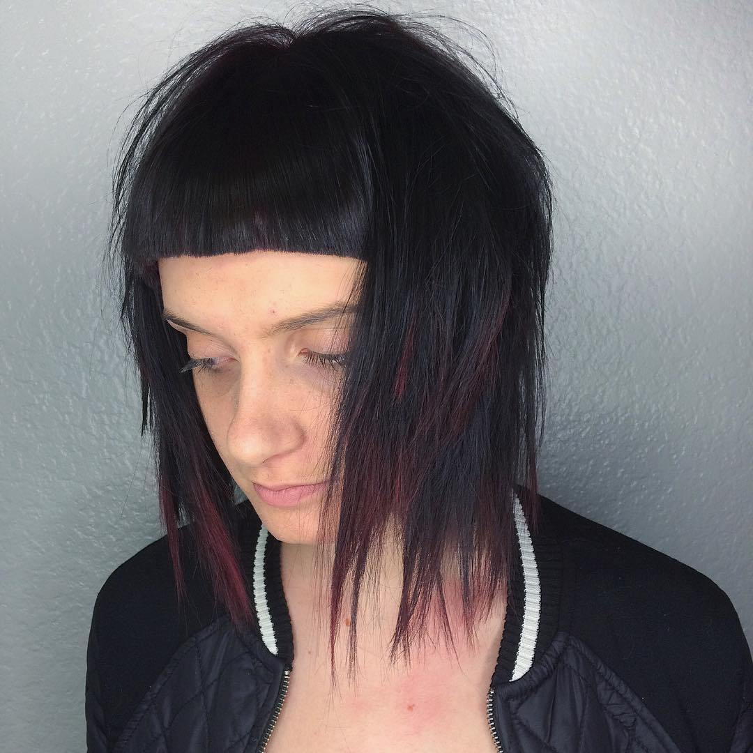 20 layered lob with short blunt bangs