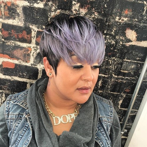 20 short black hair with silver balayage