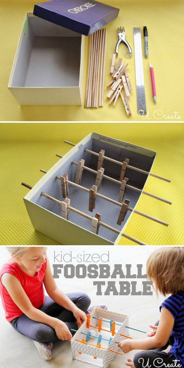 22 DIY Mini Foosball Table with Pin-It-Button For Kids