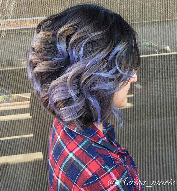 22 brown balayage bob with purple highlights
