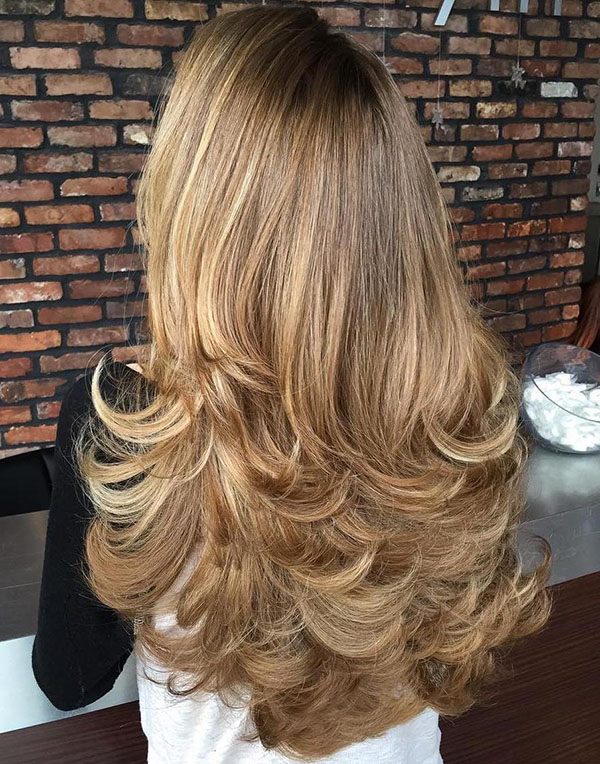22 long flicked layered hairstyle