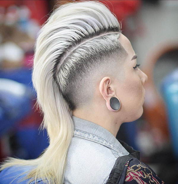 22 womens long mohawk with taper fade
