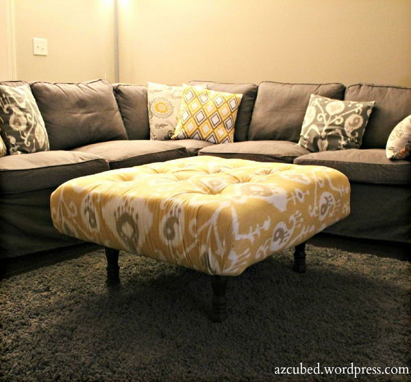 23 DIY Tufted Ikat Ottoman from Upcycled Pallet