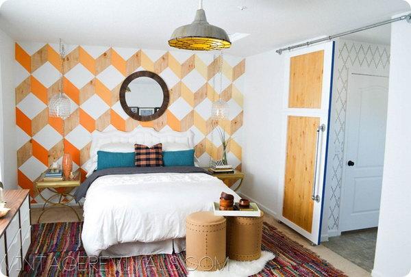 23 Geometric Woodgrain Wall